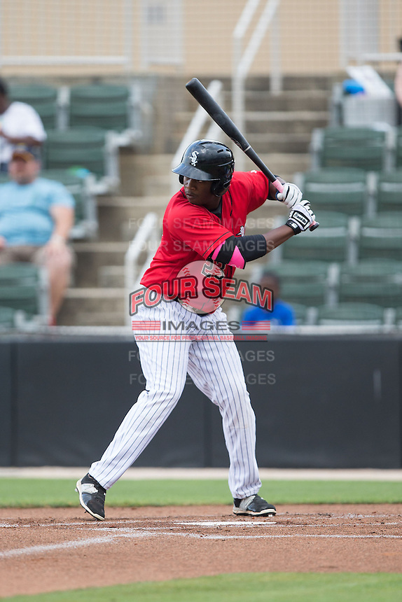 Alexander Simon (23) of the Kannapolis Intimidators at bat against the Delmarva Shorebirds at CMC-Northeast Stadium on June 7, 2015 in Kannapolis, North Carolina.  The Shorebirds defeated the Intimidators 9-1.  (Brian Westerholt/Four Seam Images)