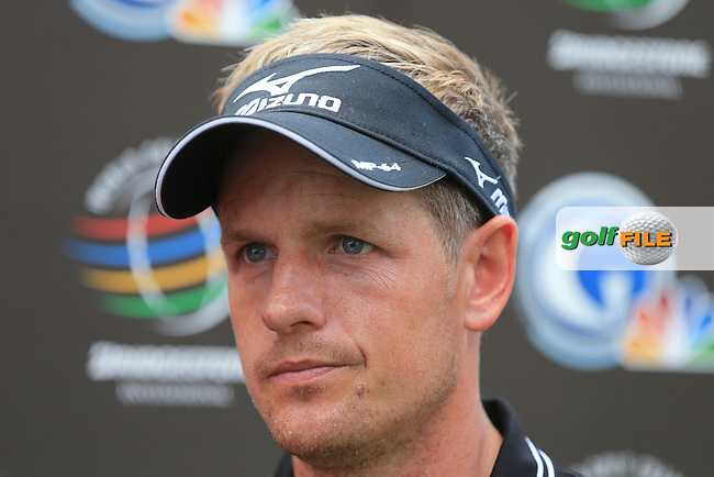 Luke Donald (ENG) at the end of Thursday's Round 1 of the 2013 Bridgestone Invitational WGC tournament held at the Firestone Country Club, Akron, Ohio. 1st August 2013.<br /> Picture: Eoin Clarke www.golffile.ie