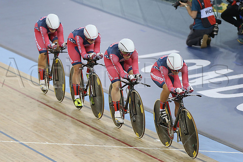 04.03.2016. Lee valley Velo Centre. London England. UCI Track Cycling World Championships Womens Team Pursuit.   Team United States<br />