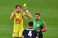 15th March 2020, Wellington, New Zealand;  Phoenix's Alex Rufer (L) is yellow carded during the A-League - Wellington Phoenix versus Melbourne Victory football match at Sky Stadium in Wellington on Sunday the 15th March 2020.