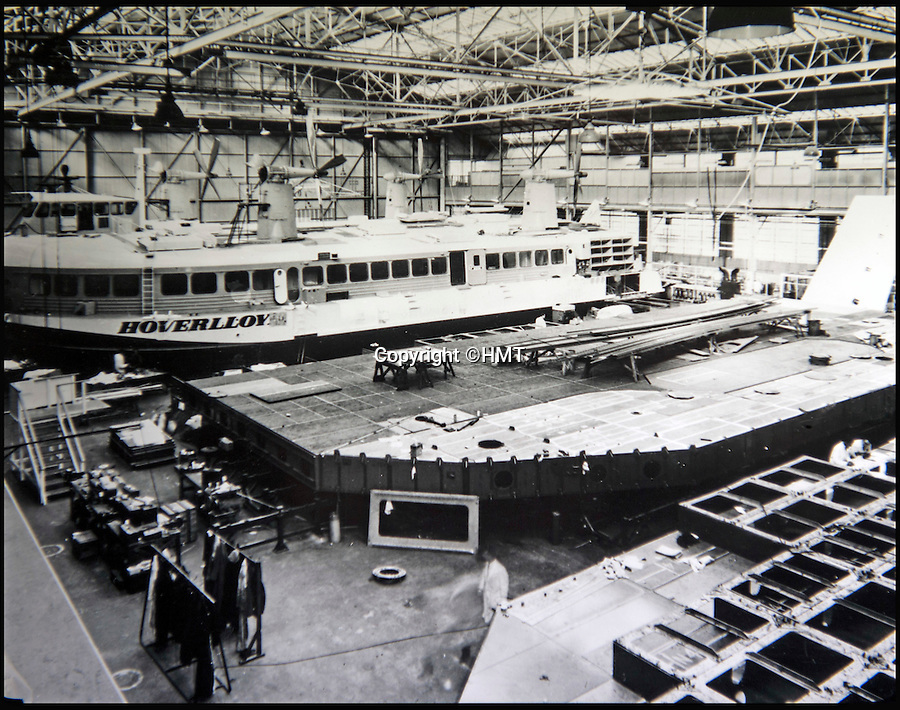 BNPS.co.uk (01202 558833)<br /> Pic: HMT/BNPS<br /> <br /> Back in the day - The massive craft being constructed on the IOW in 1968.<br /> <br /> Hovercraft Museum Trust are fighting to save the last cross channel hovercraft.<br /> <br /> Triumph of British engineering faces an uncertain future - Last surviving cross channel hovercraft, dubbed 'the Concorde of the seas' is threatened with destruction. <br /> <br /> A plucky group of volunteers are fighting a last ditch battle to save the last two cross channel hovercraft from the scrap heap.<br /> <br /> The huge craft, designed in the same 1960's era as Concorde, used to 'fly' across the channel in only 30 minutes. <br /> <br /> But after 33 years in service they are now in desperate need of help after a convoluted legal battle has led to them being seized by their HCA landlords, who could have them cut up in days.