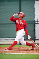 GCL Phillies right fielder Jhailyn Ortiz (13) at bat during a game against the GCL Braves on August 3, 2016 at the Carpenter Complex in Clearwater, Florida.  GCL Phillies defeated GCL Braves 4-3 in a rain shortened six inning game.  (Mike Janes/Four Seam Images)