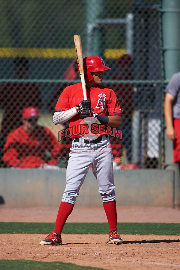 Los Angeles Angels Franklin Torres (7) during an instructional league game against the Oakland Athletics on October 9, 2015 at the Tempe Diablo Stadium Complex in Tempe, Arizona.  (Mike Janes/Four Seam Images)