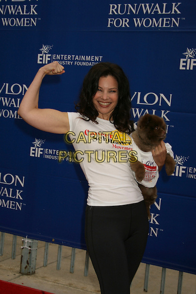 FRAN DRESCHER.14th Annual Entertainment Industry Foundation Revlon Run/Walk For Women held at The Los Angeles Memorial Coliseum, Los Angeles, California, USA,.12 May 2007..half length hand arm funny sporty black white carrying holding dog pet animal.CAP/ADM/RE.©Russ Elliot/AdMedia/Capital Pictures.