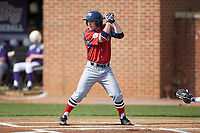 Jesse Uttendorfer (2) of the NJIT Highlanders at bat against the High Point Panthers at Williard Stadium on February 18, 2017 in High Point, North Carolina. The Panthers defeated the Highlanders 11-0 in game one of a double-header. (Brian Westerholt/Four Seam Images)
