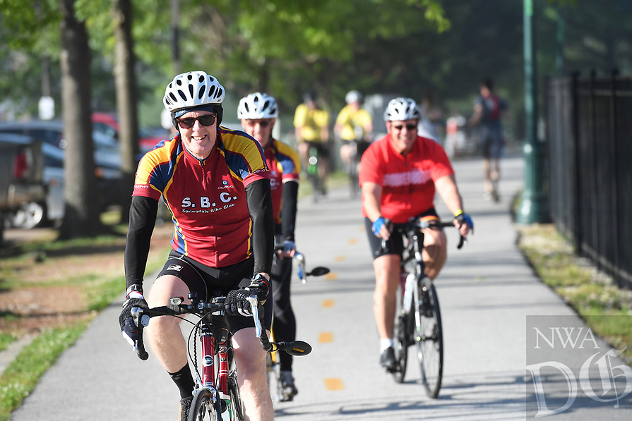 NWA Democrat-Gazette/J.T. WAMPLER Cyclists take to the trail Saturday May 13, 2017 during the Square 2 Square Bike Ride. Several hundred riders participated in the 30-mile ride from downtown Fayetteville to downtown Bentonville along the Razorback Regional Greenway trail that connects the major towns in Northwest Arkansas.