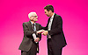 Labour Party Conference<br /> at Manchester Central, Manchester, Great Britain <br /> 24th September 2014 <br /> <br /> Harry Smith <br /> speaking during the Health &amp; Care debate <br /> <br /> with Andy Burnham <br /> <br /> Photograph by Elliott Franks <br /> Image licensed to Elliott Franks Photography Services