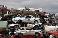 Automobile junkyard for recycling and scrap, Wyoming, USA