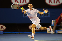 MELBOURNE, 28 JANUARY - Novak Djokovic (SRB) in action against Andy Murray (GBR) during a men's semifinals match on day twelve of the 2012 Australian Open at Melbourne Park, Australia. (Photo Sydney Low / syd-low.com)