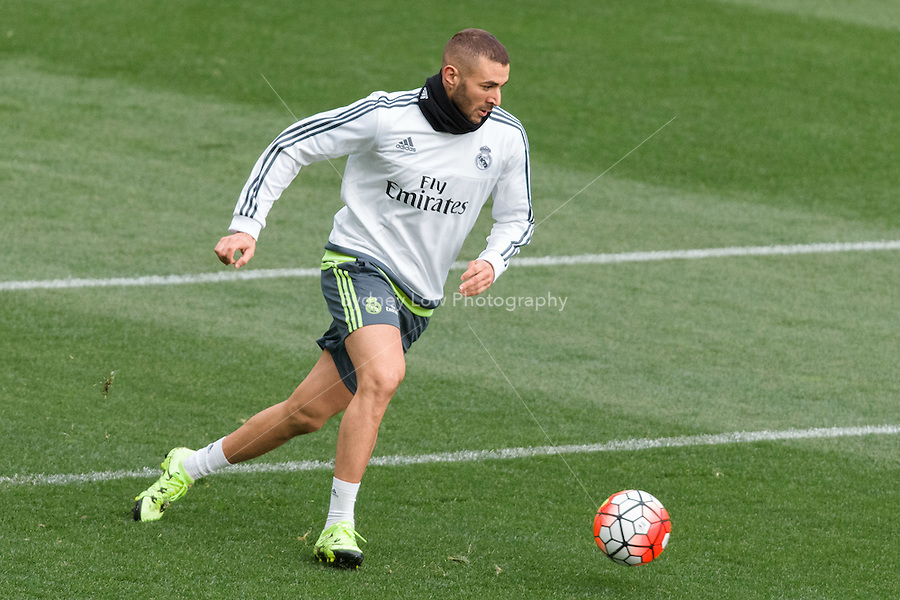 Melbourne, 14 July 2015 - Karim Benzema at an open training session of Real Madrid before their match against AS Roma at the 2015 International Champions Cup in Melbourne, Australia. Photo Sydney Low/AsteriskImages.com
