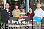 This week's buyKerry winner is Ashling Enright, Ballyloughran, Lisselton who picked Elizabelle Interior and Lifestyle Choices, Listowel to spend her winnings l-r: Brendan Kennelly (Kerry's Eye), Marie Kennelly (proprietor Elizabelle Interior and Lifestyle Choices), Eliza Kennelly, winner Ashling Enright and Christy Killeen (chairperson Chapter 23 League of Credit Unions).