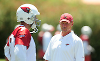 Jun 9, 2008; Tempe, AZ, USA; Arizona Cardinals head coach Ken Whisenhunt (right) talks with quarterback Matt Leinart during mini camp at the Cardinals practice facility. Mandatory Credit: Mark J. Rebilas-