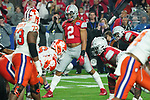 Ohio State Buckeyes linebacker Chase Young (2) at the line of scrimmage during the Fiesta Bowl game against the Clemson Tigers on Saturday, Dec 28, 2019 in Glendale, Ariz.  (Gene Lower via AP)