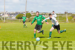 Action from Island's Shane Loughlin and Feints Darrren Lynch in Greyhound Bar KO Cup Quarter Final Replay Fenit Samphires  V  Castleisland Afc at Fenit on Sunday