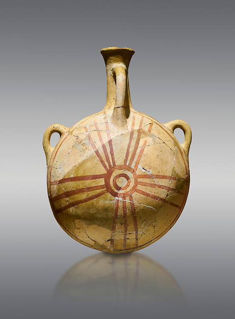 Bronze Age Anatolian decorated terra cotta water flask - Kültepe Kanesh - Museum of Anatolian Civilisations, Ankara, Turkey. Against a grey background.