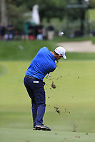 Padraig Harrington (IRL) plays his 2nd shot on the 10th hole during Friday's storm delayed Round 2 of the Andalucia Valderrama Masters 2018 hosted by the Sergio Foundation, held at Real Golf de Valderrama, Sotogrande, San Roque, Spain. 19th October 2018.<br /> Picture: Eoin Clarke | Golffile<br /> <br /> <br /> All photos usage must carry mandatory copyright credit (&copy; Golffile | Eoin Clarke)