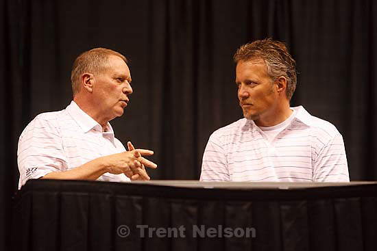 Salt Lake City - Jazz General Manager Kevin O'Connor (left) and Larry H. Miller Group CEO Greg Miller after announcing that the Utah Jazz selected Eric Maynor of Virginia Commonwealth in the NBA Draft Thursday, June 25, 2009.