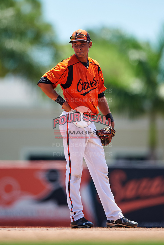 GCL Orioles shortstop Irving Ortega (1) during a game against the GCL Twins on August 11, 2016 at the Ed Smith Stadium in Sarasota, Florida.  GCL Twins defeated GCL Orioles 4-3.  (Mike Janes/Four Seam Images)