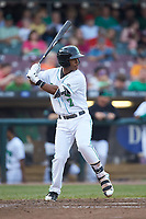 Jeter Downs (2) of the Dayton Dragons at bat against the Bowling Green Hot Rods at Fifth Third Field on June 9, 2018 in Dayton, Ohio. The Hot Rods defeated the Dragons 1-0.  (Brian Westerholt/Four Seam Images)