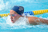 14 January 2012:  FIU's Chelsie Kidd competes in the 100 yard butterfly as the FIU Golden Panthers won the meet with the Central Connecticut State University Blue Devils at the Biscayne Bay Campus Aquatics Center in Miami, Florida.