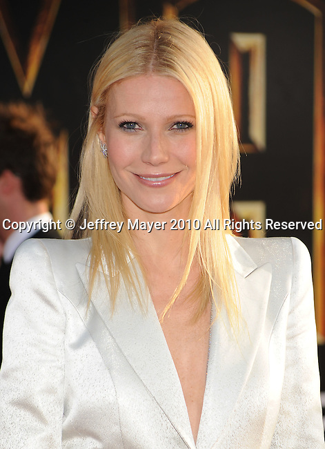 "HOLLYWOOD, CA. - April 26: Gwyneth Paltrow arrives at the ""Iron Man 2"" World Premiere held at the El Capitan Theatre on April 26, 2010 in Hollywood, California."