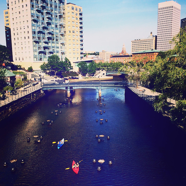 Kayakers on the Woonasquatucket River in downtown Providence, Rhode Island on June 7, 2015.