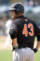 June 8, 2008: Fresno Grizzlies' Scott McClain on first base during a Pacific Coast League game against the Tacoma Rainiers at Cheney Stadium in Tacoma, Washington.