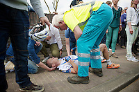 the unforntunate James Vanlandschoot (BEL/Wanty-GroupeGobert) crashed on the descent of the Gulperberg when he got behind on the ascent.<br /> He broke his collarbone and a few ribs.<br /> <br /> Amstel Gold Race 2014