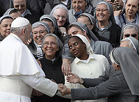 Papa Francesco saluta alcune suore al termine dell'udienza generale del mercoledi' in Piazza San Pietro, Citta' del Vaticano, 31 ottobre 2018.<br /> Pope Francis greets nuns at the end of his weekly general audience in St. Peter's Square at the Vatican, on October 31, 2018.<br /> UPDATE IMAGES PRESS/Isabella Bonotto<br /> <br /> STRICTLY ONLY FOR EDITORIAL USE