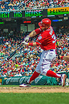 15 September 2013: Washington Nationals outfielder Bryce Harper connects against the Philadelphia Phillies at Nationals Park in Washington, DC. The Nationals took the rubber match of their 3-game series 11-2 to keep their wildcard postseason hopes alive. Mandatory Credit: Ed Wolfstein Photo *** RAW (NEF) Image File Available ***