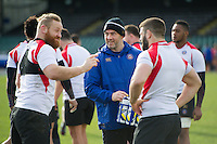 High Performance Manager Allan Ryan has a laugh with Ross Batty and Guy Mercer of Bath Rugby. Bath Rugby Captain's Run on February 19, 2016 at the Recreation Ground in Bath, England. Photo by: Patrick Khachfe / Onside Images