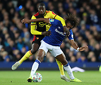 29th October 2019; Goodison Park, Liverpool, Merseyside, England; English Football League Cup, Carabao Cup Football, Everton versus Watford; Alex Iwobe of Everton shields the ball from Adrian Mariappa of Watford - Strictly Editorial Use Only. No use with unauthorized audio, video, data, fixture lists, club/league logos or 'live' services. Online in-match use limited to 120 images, no video emulation. No use in betting, games or single club/league/player publications