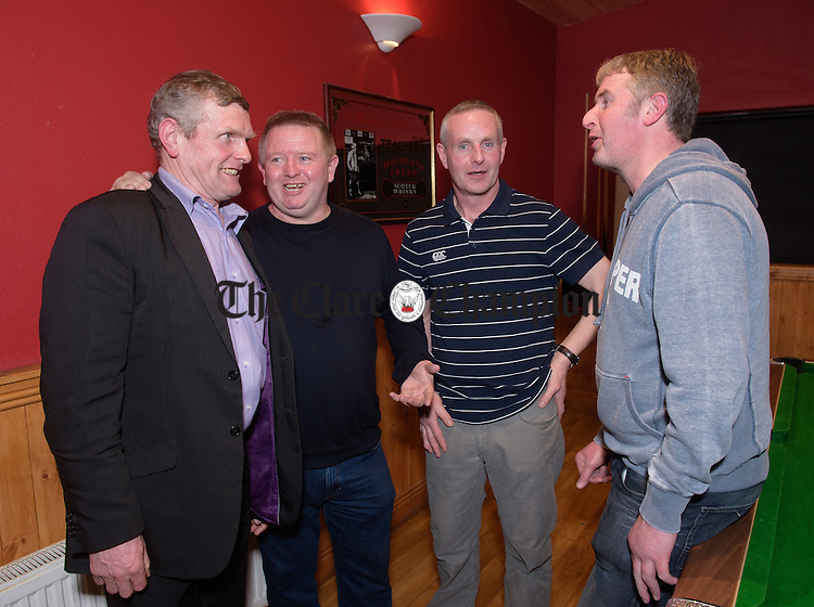 Joe Cooney, Tim Canny, Kevin Mc Namara and Brendan Noonan at the O Callaghan's Mills 25th anniversary celebration of their first Clare Champion Cup win in 1990 at Jack's Place, Kilkishen. Photograph by John Kelly.