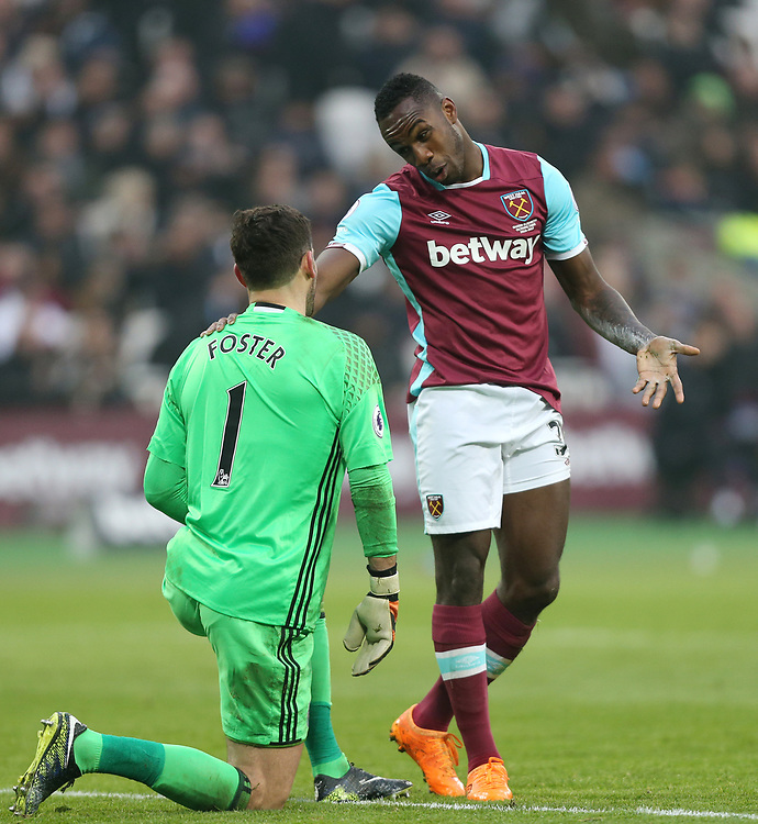 West Ham United's Michail Antonio and West Bromwich Albion's Ben Foster<br /> <br /> Photographer Rob Newell/CameraSport<br /> <br /> The Premier League - West Ham United v West Bromwich Albion - Saturday 11th February 2017 - London Stadium - London<br /> <br /> World Copyright &copy; 2017 CameraSport. All rights reserved. 43 Linden Ave. Countesthorpe. Leicester. England. LE8 5PG - Tel: +44 (0) 116 277 4147 - admin@camerasport.com - www.camerasport.com