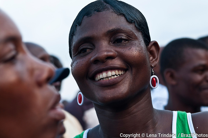 Happy African people in Sao Tome and Príncipe, Africa.