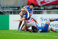 Abigail Walker of Great Britain scores a late try. FISU World University Championship Rugby Sevens Women's 5th/6th place match between Great Britain and Italy on July 9, 2016 at the Swansea University International Sports Village in Swansea, Wales. Photo by: Patrick Khachfe / Onside Images