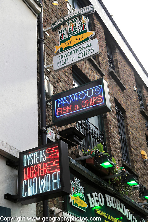 Food signs outside fish and chips restaurant, Dublin city centre, Ireland, Republic of Ireland