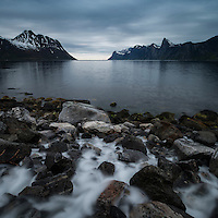 River flows into Mefjord, Senja, Norway
