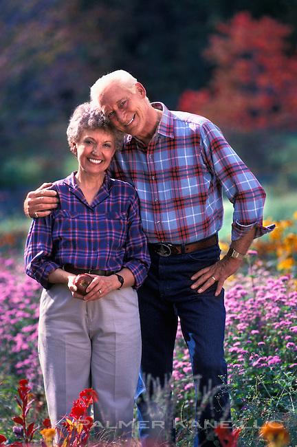 Portrait of happy white senior couple
