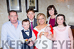 Fiadh Kate O'Callaghan, Rathmore celebrated her christening with her parents Orla and Tadhg, her big sister Clodagh, big brother Tiernan, godparents Donal o'Leary and deirdre Carroll in the Victoria House hotel on Saturday