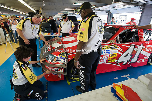 Oct 11, 2008; 2:45:24 PM;  Concord, NC, USA; Nascar Sprint Cup Series garage area and tech inspection for the Bank of America 500  at Lowe's Motor Speedway. Mandatory Credit: Joey Millard