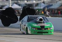 Apr. 26, 2013; Baytown, TX, USA: NHRA pro stock driver Mike Edwards during qualifying for the Spring Nationals at Royal Purple Raceway. Mandatory Credit: Mark J. Rebilas-