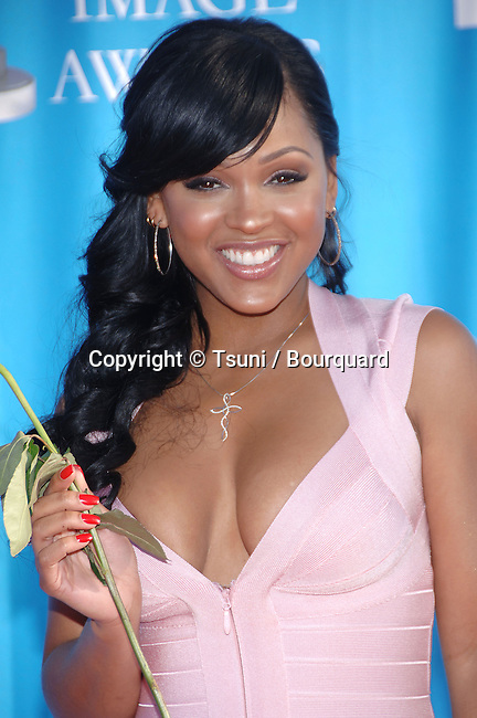 Meagan Good at the NAACP Image Awards at the Shrine Auditorium In Los Angeles.<br /> <br /> headshot<br /> eye contact<br /> smile