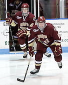 Patrick Wey (BC - 6), Philip Samuelsson (BC - 5) - The Northeastern University Huskies defeated the Boston College Eagles 3-2 on Friday, February 19, 2010, at Matthews Arena in Boston, Massachusetts.