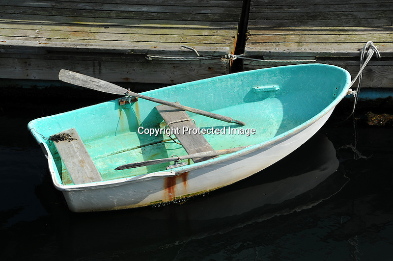 A Lone Dory at Dock Waiting for the Captain in Maine, USA
