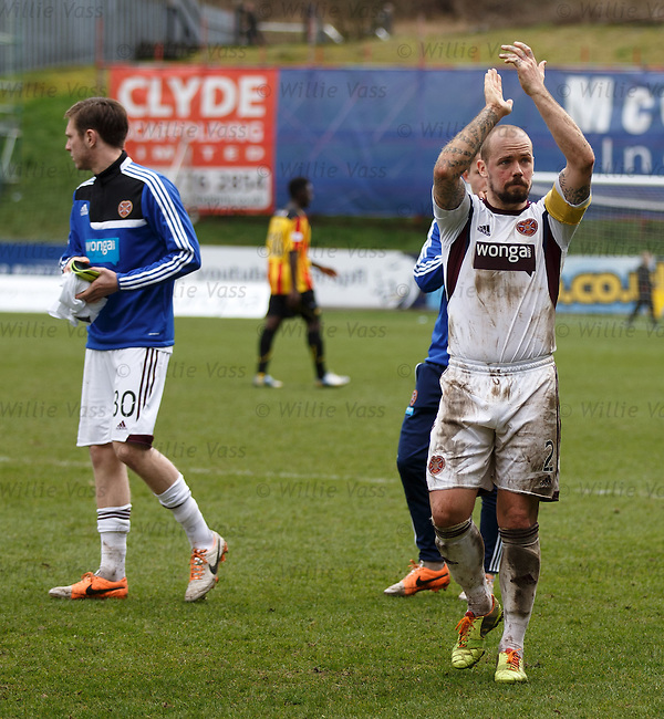 Jamie Hammill applauds the Hearts fans at the end