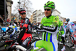 Taylor Phinney (USA) BMC Racing Team and Edward King (USA) Cannondale chat to me on the start line of the 56th edition of the E3 Harelbeke, Belgium, 22nd  March 2013 (Photo by Eoin Clarke 2013)