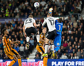 8th September 2017, Pride Park Stadium, Derby, England; EFL Championship football, Derby County versus Hull City; Hull City goalkeeper Allan McGregor comes in to punch the ball clear as Sam Winnall of Derby County attempts to head the ball