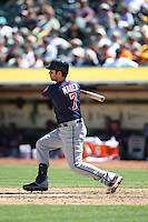 OAKLAND, CA - AUGUST 22:  Joe Mauer #7 of the Minnesota Twins bats against the Oakland Athletics during the game at O.co Coliseum on Wednesday, August 22, 2012 in Oakland, California. Photo by Brad Mangin