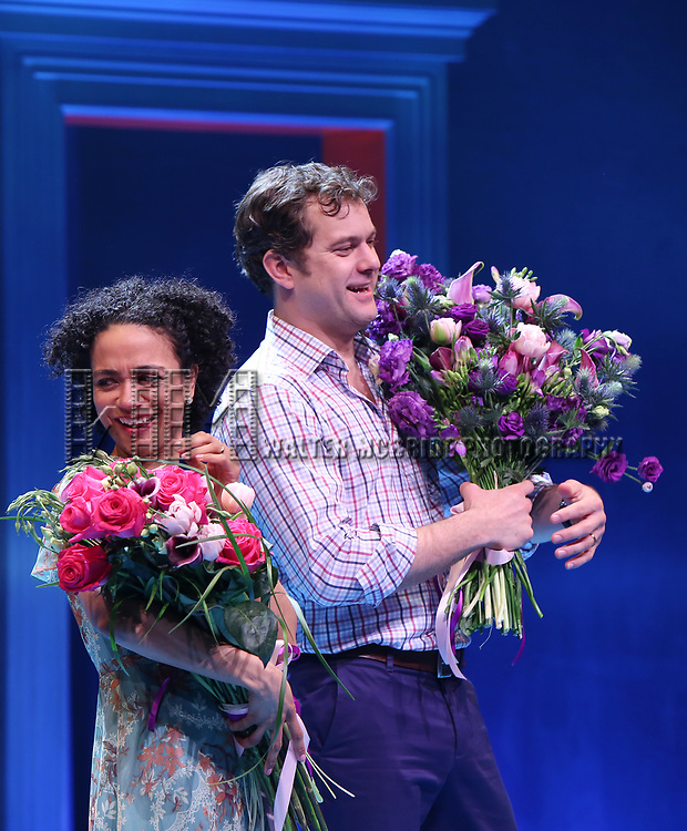 Lauren Ridloff and Joshua Jackson during the Broadway opening night performance Curtain Call for 'Children of a Lesser God' at Studio 54 Theatre on April 11, 2018 in New York City.